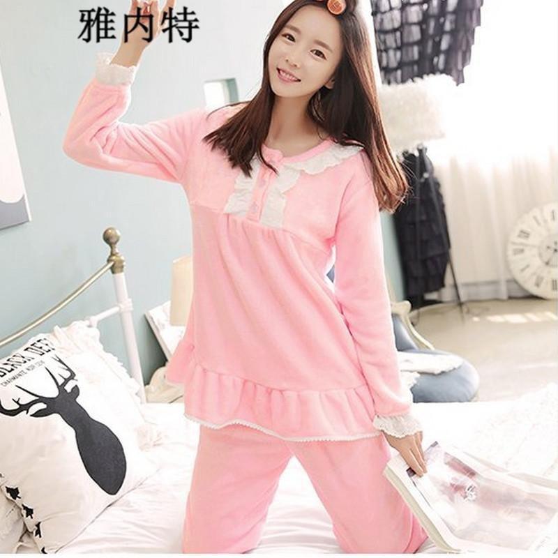 雅内特2015韩版花边女睡衣可爱公主加厚法兰绒家居服套装