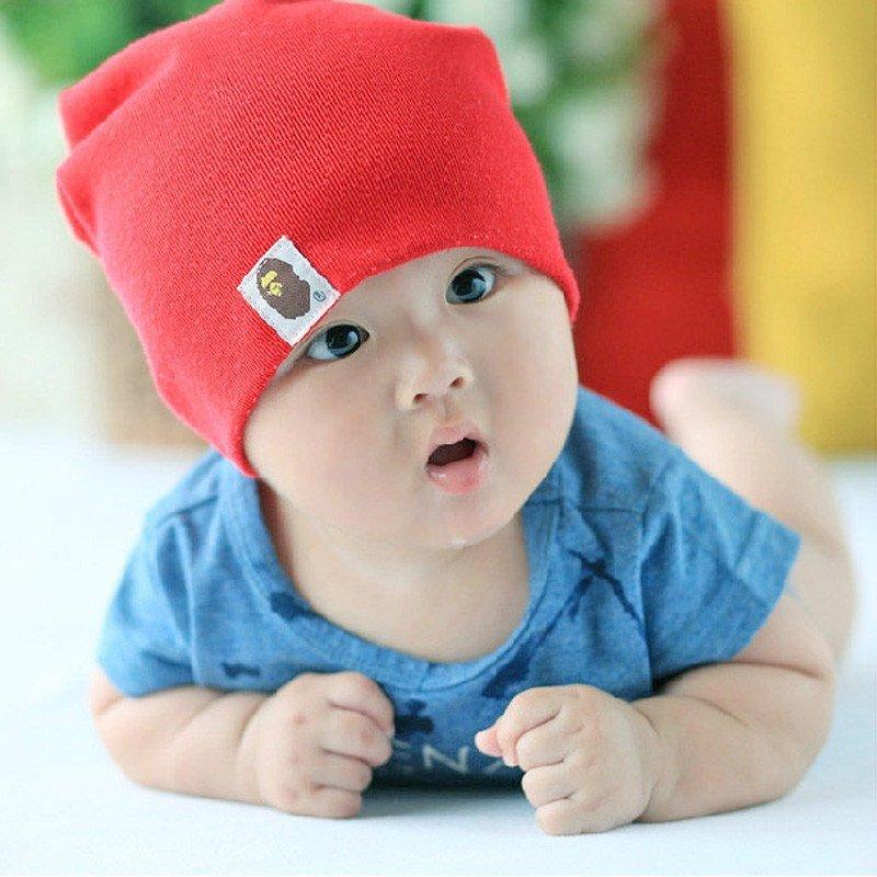 新生婴儿纯棉帽子 韩版套头帽 男女宝宝帽子 儿童猿人头纯色可爱帽子
