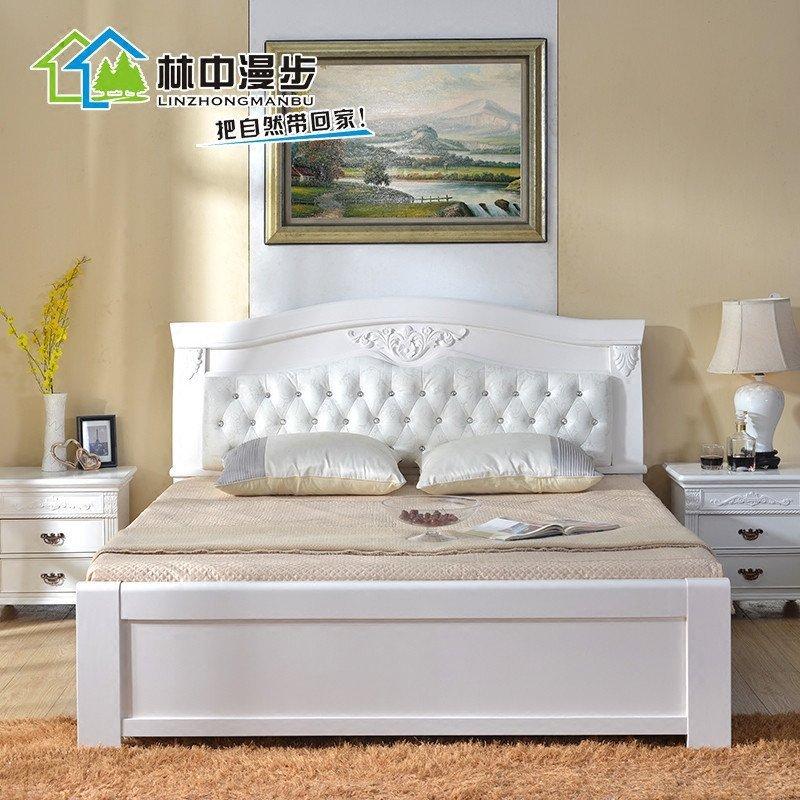现代卧室白色实木床1.8米欧式软包1