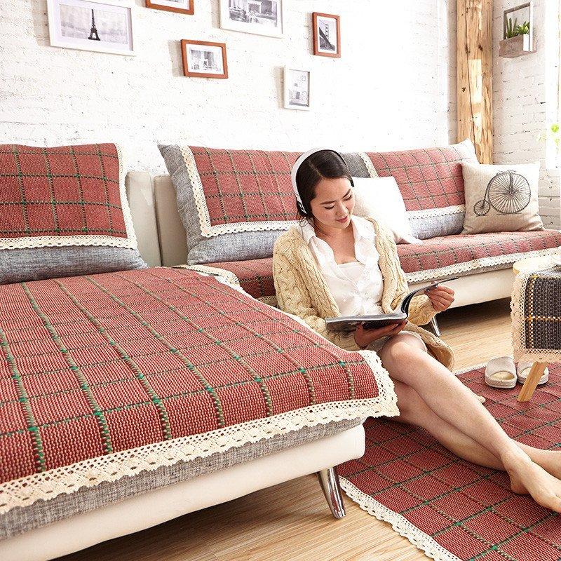 嘉莉兹家用时尚棉线编织工艺沙发垫四季可用沙发垫飘窗垫榻榻米盖毯纯