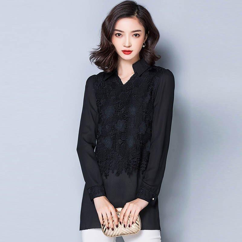 女���9j�_ym.j雪纺衫女长袖2016秋装新款韩版修身中长款蕾丝打底衫上衣