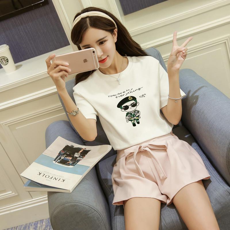 珂莱堡蒂 t恤夏装新品舒适上衣流行韩剧可爱q版人物图案印花短袖t恤tl