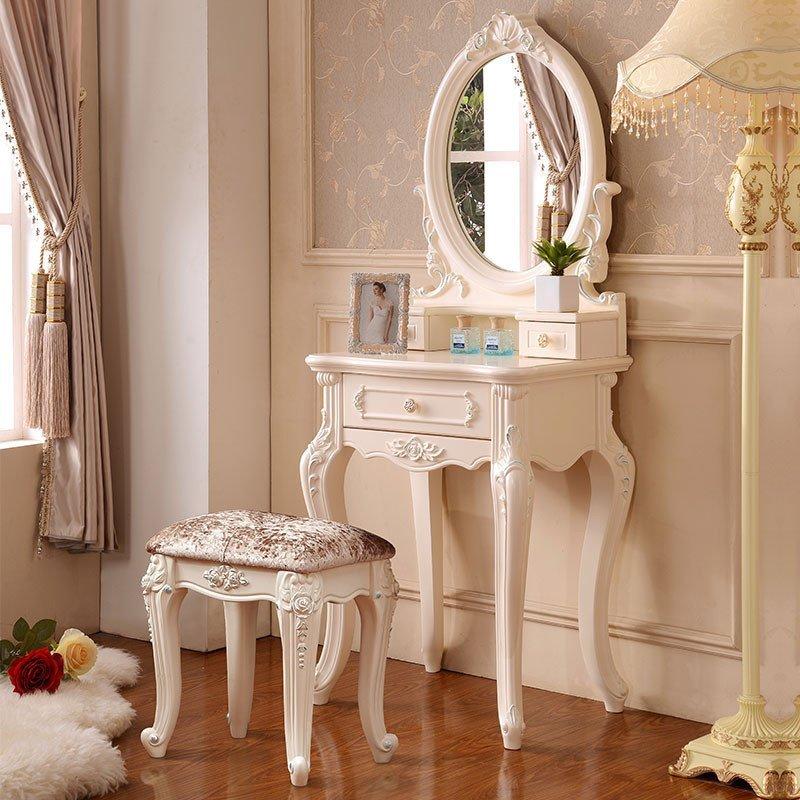 凯莎豪庭卧室梳妆台 欧式梳妆台小户型化妆桌 现代简约0.6米