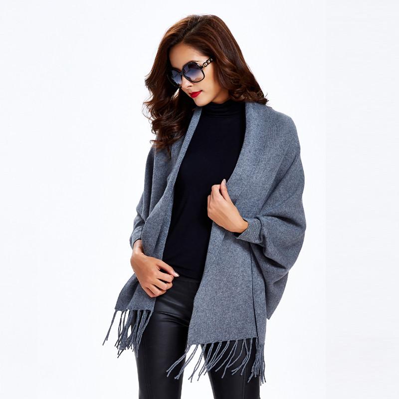 翡百裙2016秋冬针织衫开衫气质长袖披风外套上衣