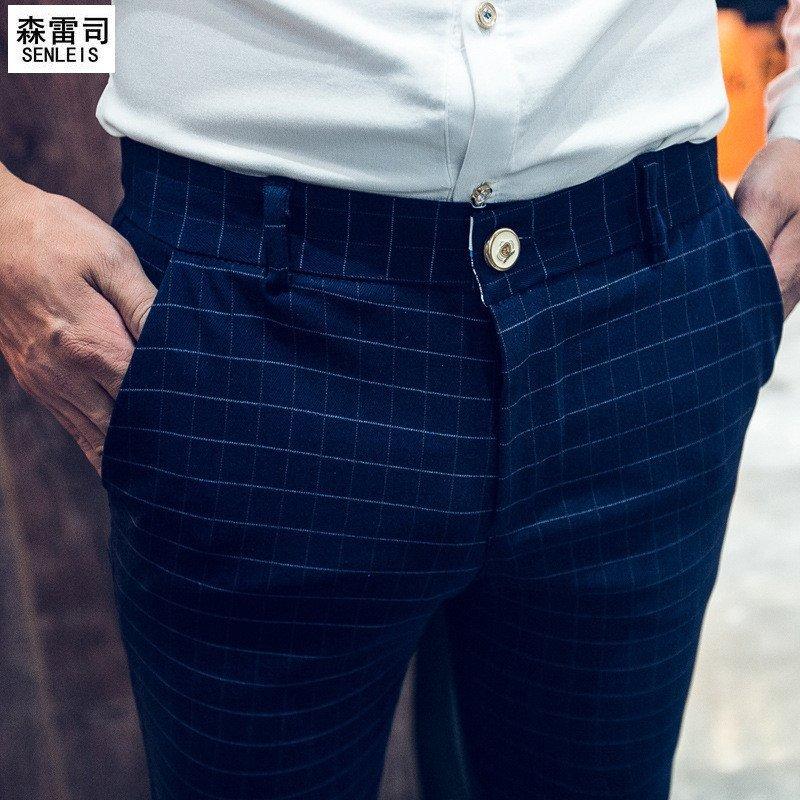 2016春款新品男士时尚格子休闲裤发型师长裤小脚弹力锥形裤潮流潮