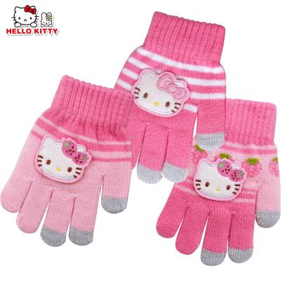 Hello Kitty兒童手套冬款五指保暖手套女童寶寶分指五指針織手套