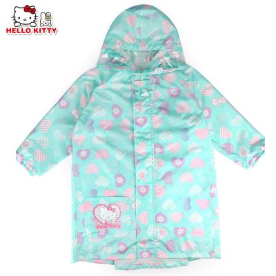 凱蒂貓(HELLO KITTY)兒童防水雨衣帶反光條雨披女童雨衣 YY18268湖綠-M碼