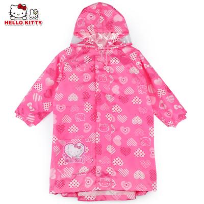 凱蒂貓(HELLO KITTY)兒童防水雨衣帶反光條雨披女童雨衣 YY18268玫紅-M碼
