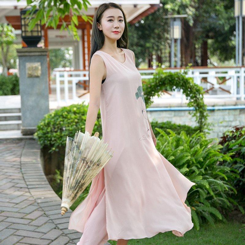 羊奈2016中国风女装复古民族风印花手绘长款连衣裙 不