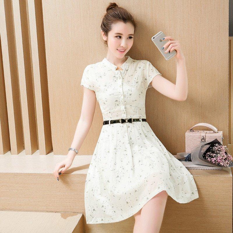 夏季新款韩版印花连衣裙中长款