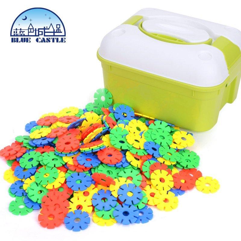 蓝色城堡雪花片拼搭积木 塑料拼插儿童益智玩具宝宝启蒙智力游戏 雪