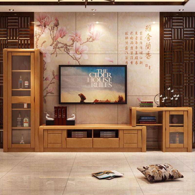 中式实木电视柜组合柜 高低柜酒柜 储物柜收纳电视柜电视机柜背景墙地
