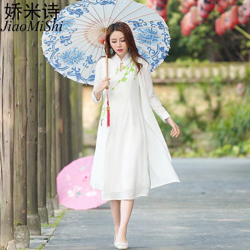 娇米诗2016夏季中国风文艺风新款手绘连衣长裙背心裙2906