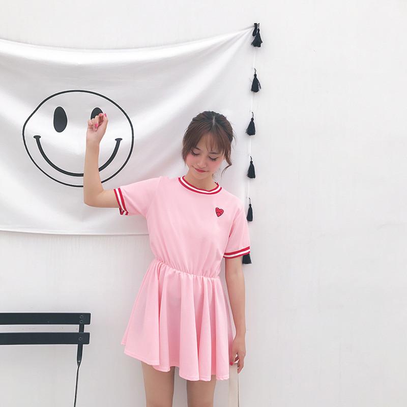 娇米诗2017实拍日系原宿风软妹可爱少女刺绣爱心短袖中腰套头连衣裙