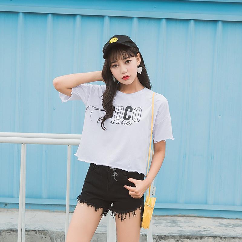 娇米诗2017夏季韩版t恤女短袖清新可爱卡通头像宽松百搭8128