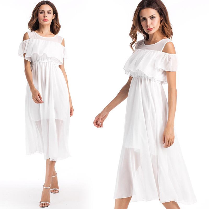 娇米诗2017夏季雪纺中长裙波西米亚渡假裙沙滩旅游白色裙子y3178图片