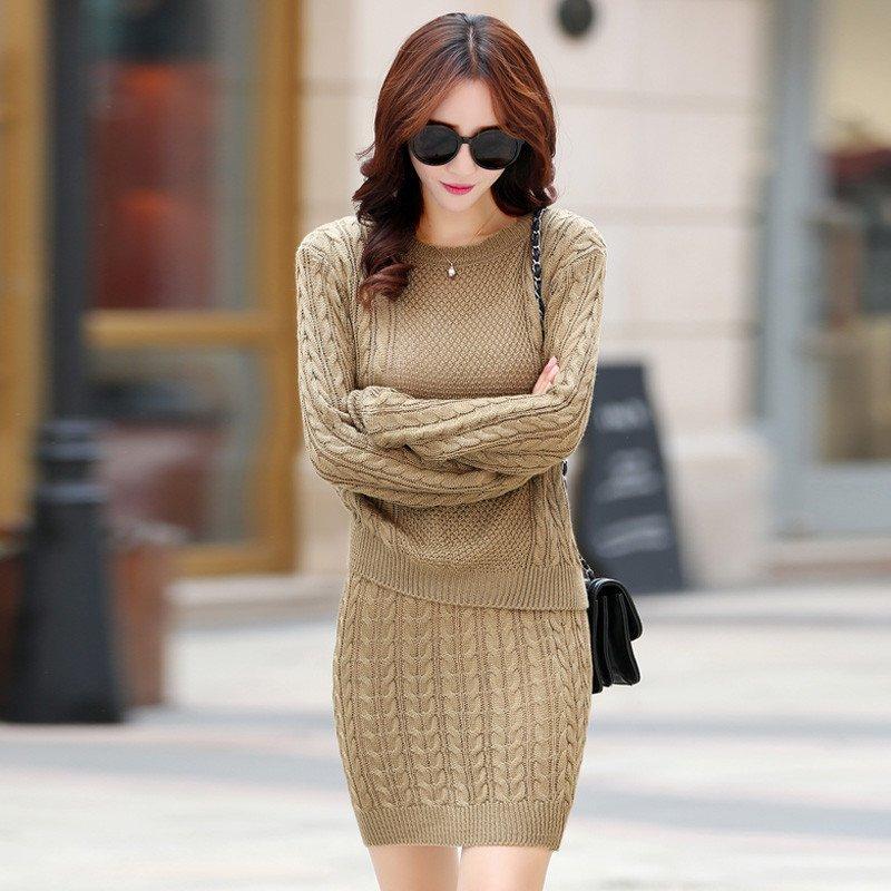 毛衣长袖针织衫两件套装套装裙连衣裙短裙