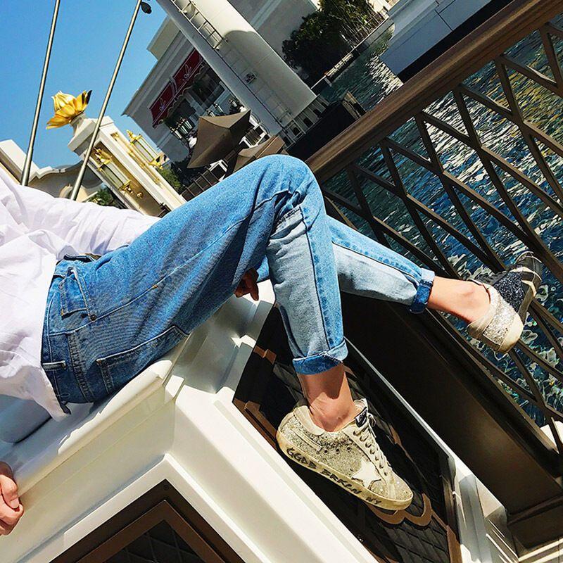 uyuk2017春夏新款韩版拼接哈伦9分裤修身小脚九分牛仔