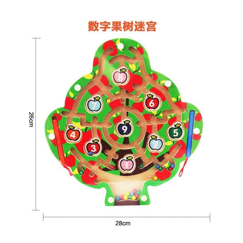 铁运笔迷宫智力走珠游戏宝宝益智儿童3-4-5岁迷宫玩具 数字果树迷宫