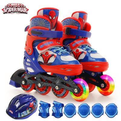 DISNEY/迪士尼蜘蛛侠溜冰鞋冷光八轮全闪儿童全套装轮滑鞋男女童旱冰鞋