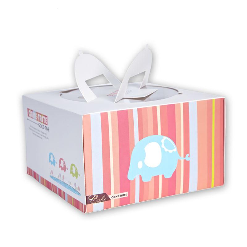 弗格 烘焙包装 6寸8寸手提蛋糕盒 韩式可爱小象点心盒