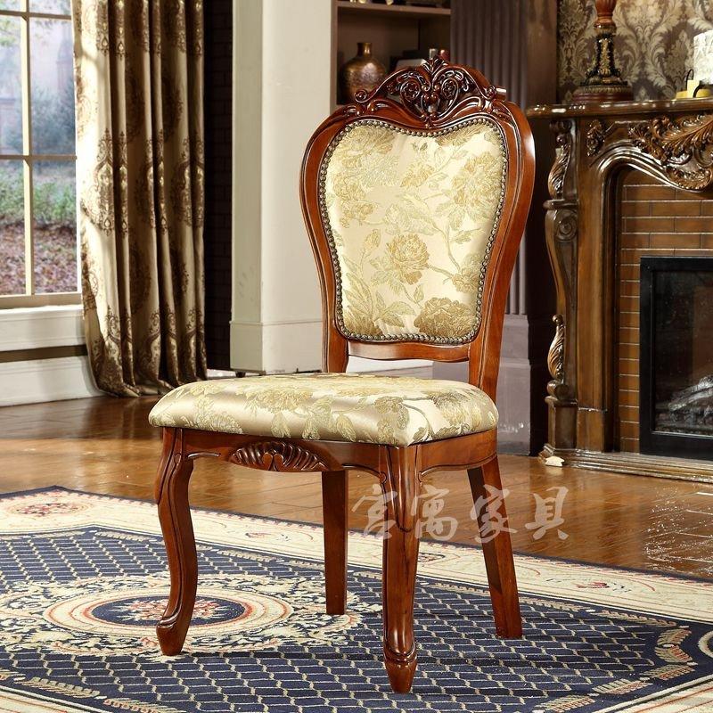 宫寓家具 欧式实木餐椅 酒店会所休闲扶手椅子布椅洽谈椅子 麻将椅全图片