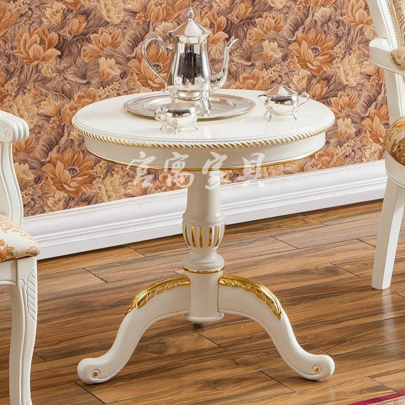 宫寓家具欧式实木圆茶几象牙白阳台小圆桌咖啡桌美式边几角几简约小