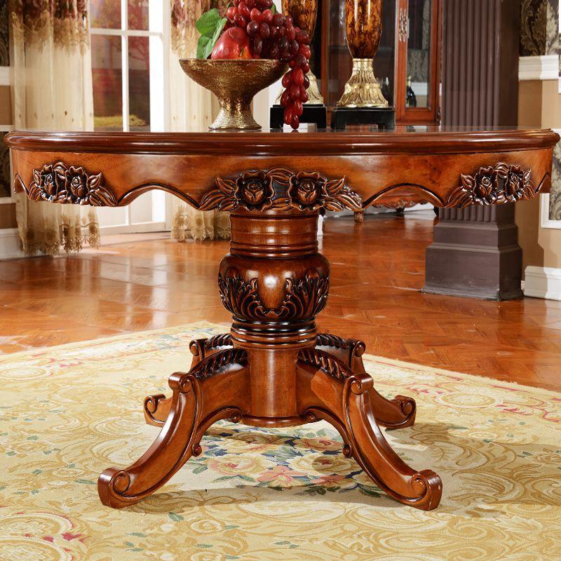 宫寓家具欧式圆形餐桌椅组合实木美式餐桌圆桌仿古餐桌大圆桌饭桌