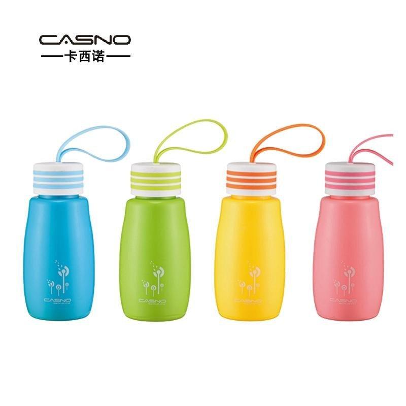 卡西诺 创意迷你可爱塑料水杯 便携有提绳随身杯学生儿童杯