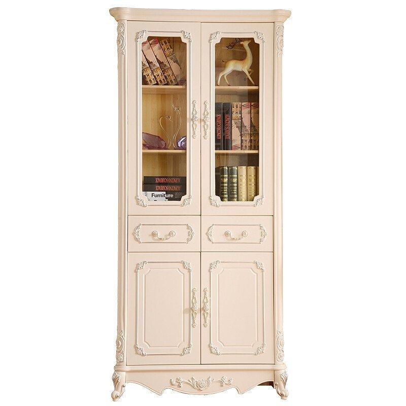 古卡罗 欧式书柜 玻璃门储物柜 白色实木书架书房家具