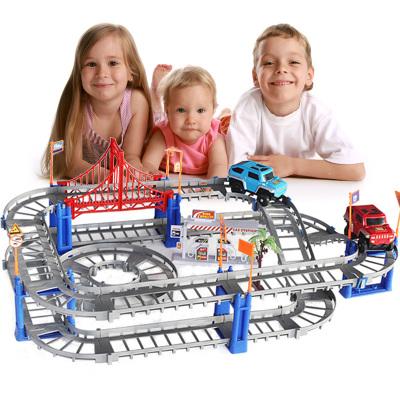 悦乐朵儿童电动轨道车玩具早教益智拼装组合立体轨道赛车双层高速交通线送男孩女孩宝宝生日礼物3-6-12岁