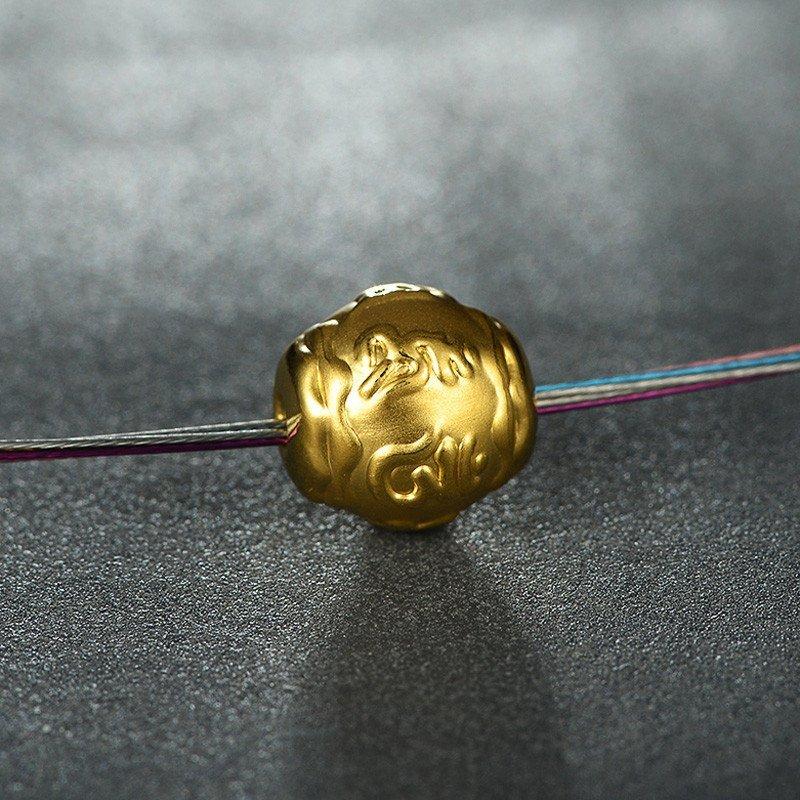 星诺珠宝3d硬金黄金999千足金六字真言转运珠手链吊坠