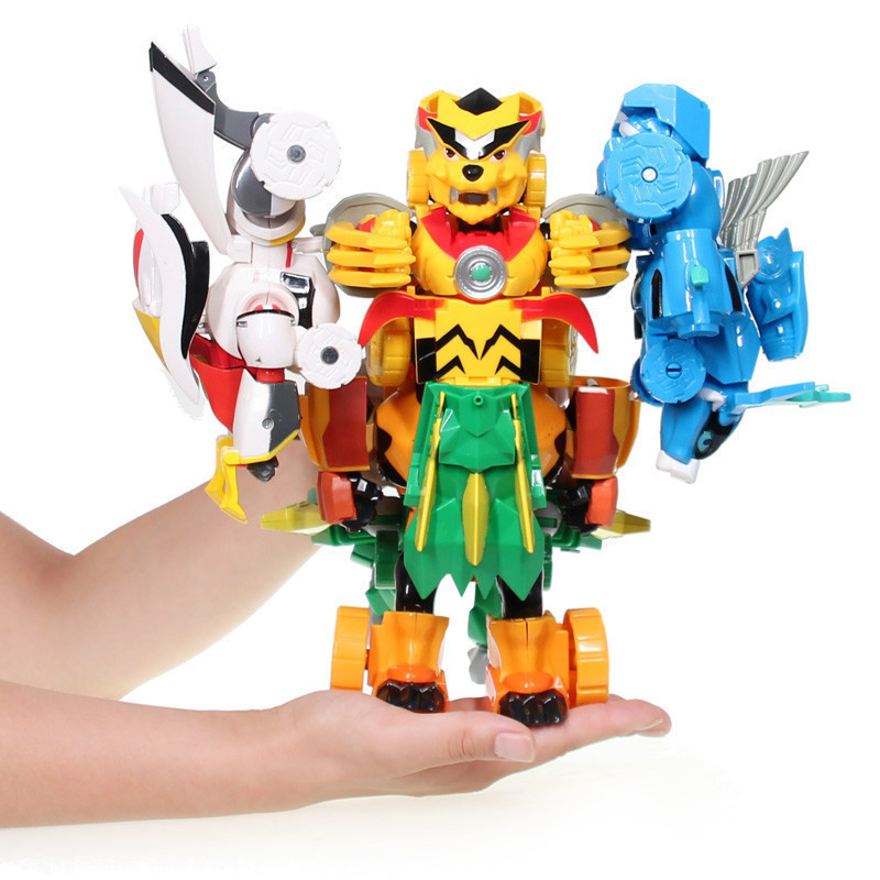 猪猪侠之超级萌宠玩具变形机器人酷变勇士 炫变勇士 五灵卫全套合体变
