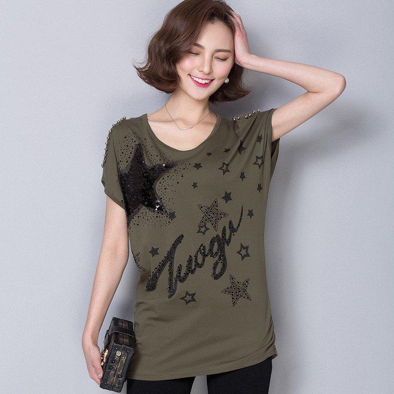 韩文短袖t恤女2016夏装蝙蝠袖五星英文印花亮片钉珠大码小衫女装jmb