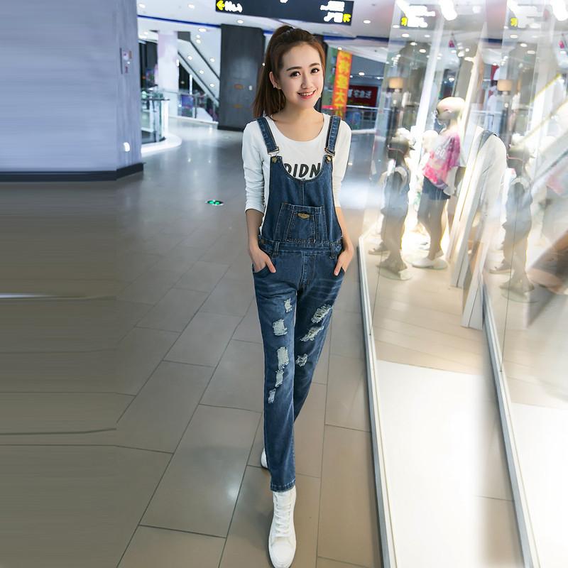 2016秋装新款韩版女装学生磨破牛仔背带裤长裤g403-a