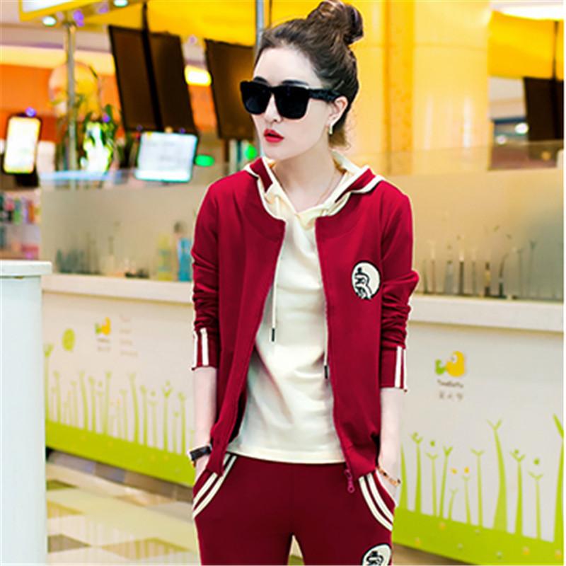 韩文2016秋装新款韩版女装气质时尚休闲运动套装卫衣运动服三件套潮