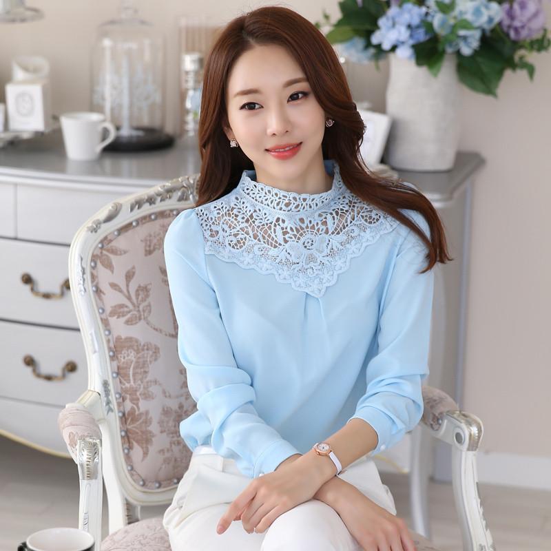 韩文长袖雪纺衫女蕾丝t恤2016新款宽松韩版女装打底衫