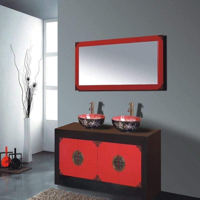 汉登橡木浴室柜,新中式实木,落地卫浴柜,可定制卫生间