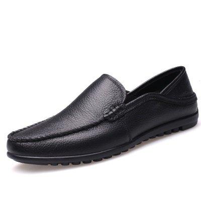 斯萊得男士皮鞋男豆豆鞋男低幫套腳真皮男鞋舒適駕車休閑鞋