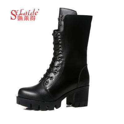 斯莱得 2019新款韩版女鞋粗跟短靴子 英伦风马丁靴女单靴厚底高跟短筒女靴