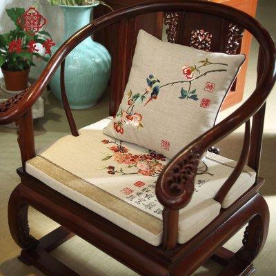 彩衣堂 中式木头沙发坐垫带靠背棉麻四季防滑沙发垫定做 江南春色