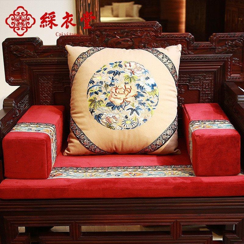 彩衣堂 红木沙发垫四季实木沙发坐垫加厚新中式靠垫定做 福蕴江南
