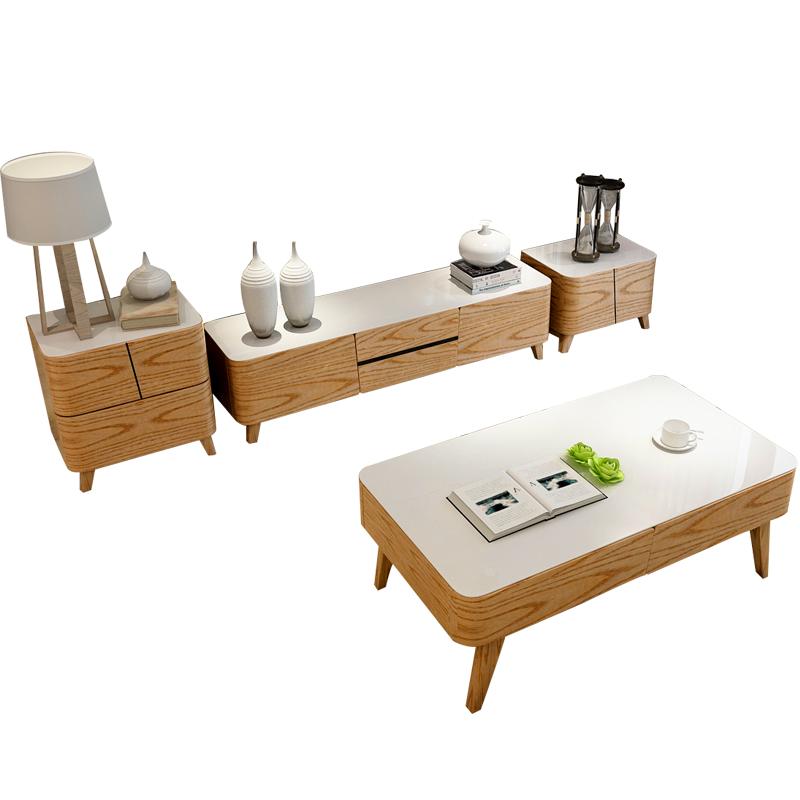 vvg 北欧风格茶几电视柜组合 简约现代小户型实木脚钢琴烤漆整装