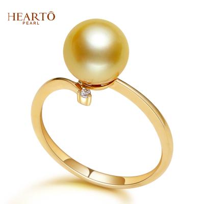 海瞳 14K金 南洋珍珠戒指 簡約款 正圓 金色海水珍珠戒指 珍珠 送朋友愛人