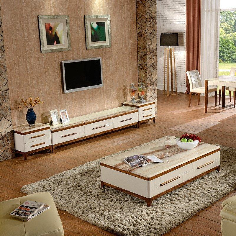 皇朝家私 茶几电视柜二斗柜组合 实木框架 大理石面