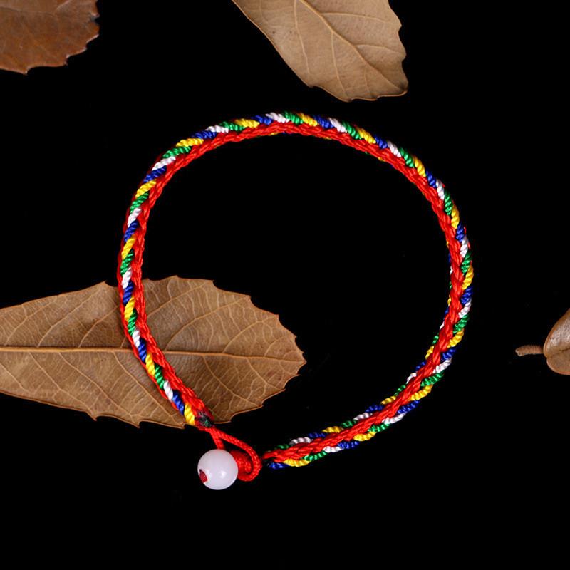 端午节手工编制五彩绳五色线红绳手链细手绳宝宝儿童婴儿男女情侣