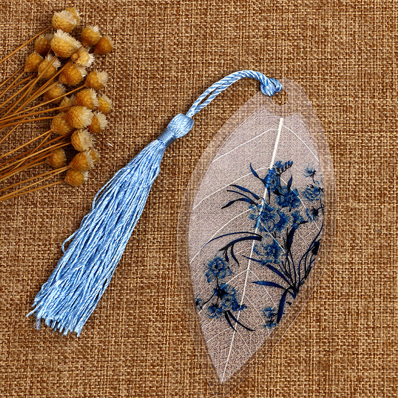 古风手绘叶脉书签礼物中国风复古水墨学生个性礼品小清新树叶书签