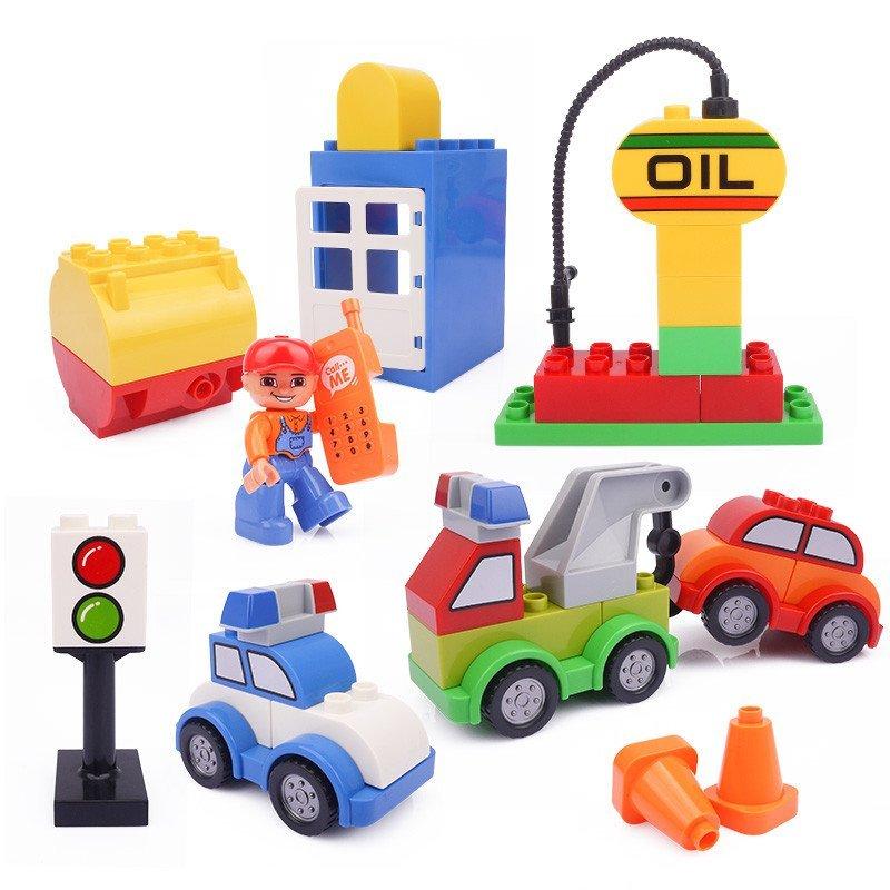 惠美星斗城积木玩具可爱卡通百变积木小车 大颗粒拼装