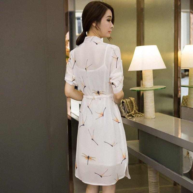 情娇婷2016新款女装长袖白衬衫连衣裙女 夏季中长款图片