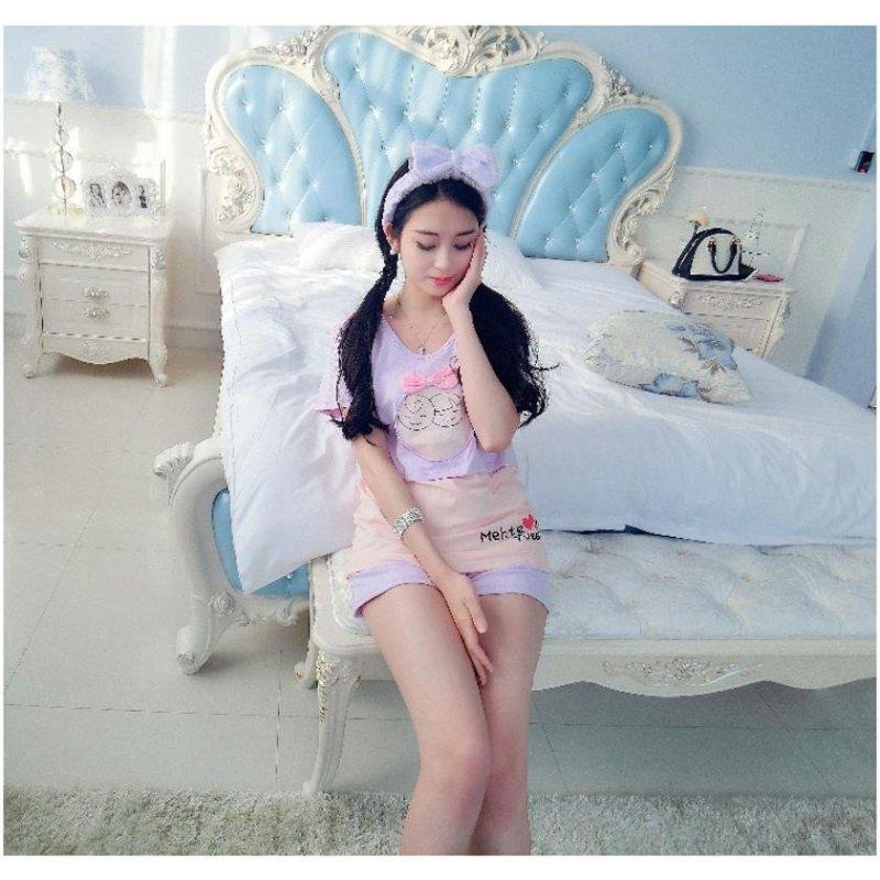 琳朵儿韩国新款拼色纯棉小可爱假两件套蝴蝶结可外穿套装5728